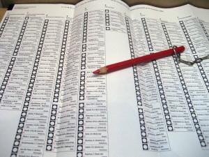 Stemmen met rood potlood